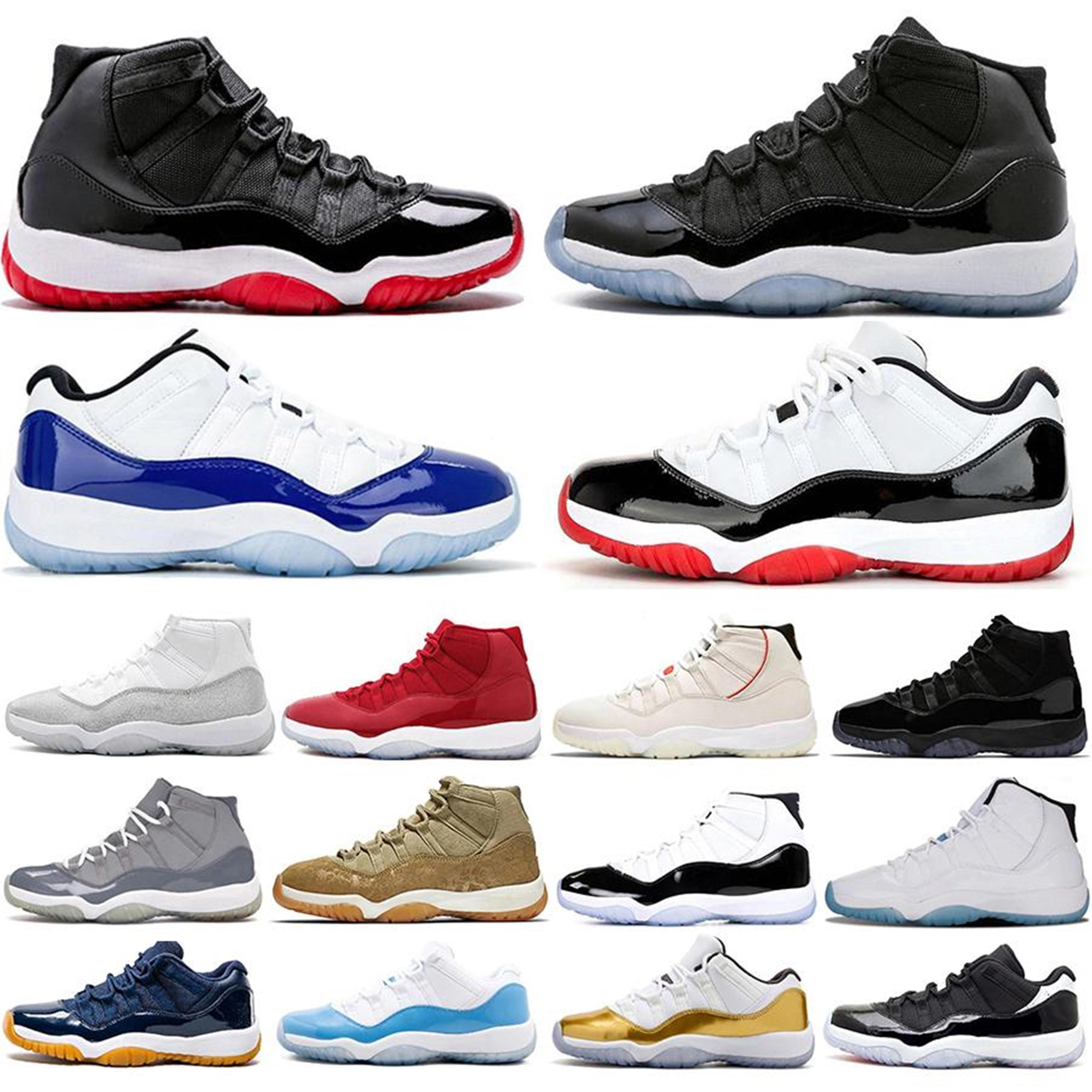 Jumpman 11 11 S Erkek Basketbol Ayakkabıları Maroon Platin Tonu Pembe Yılan Cilt Serin Gri Düşük Beyaz Sreted Gül Altın Erkekler Kadın Spor Sneakers