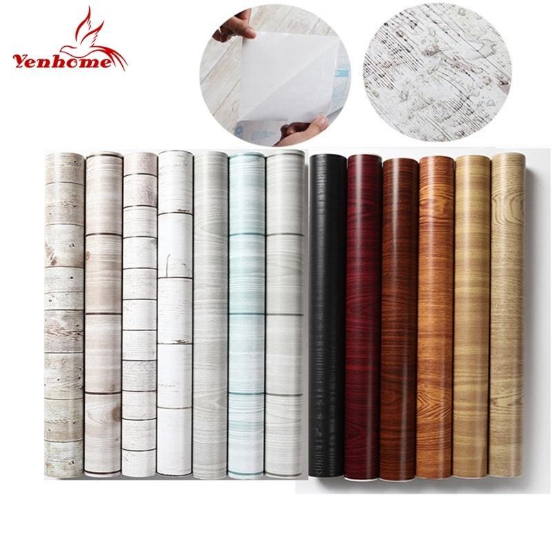 45cmx5m impermeable PVC vinilo de madera grano autoadhesivo papel tapiz de cocina armario muebles renovación puerta pegatinas de pared 201202