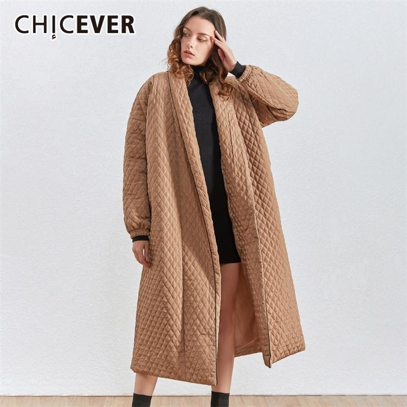 Chicever Корейский плед хлопок пальто для женских осложневых воротников фонарь рукава негабаритные свободно повседневные длинные женщины Parkas 2020 зима новый LJ201020