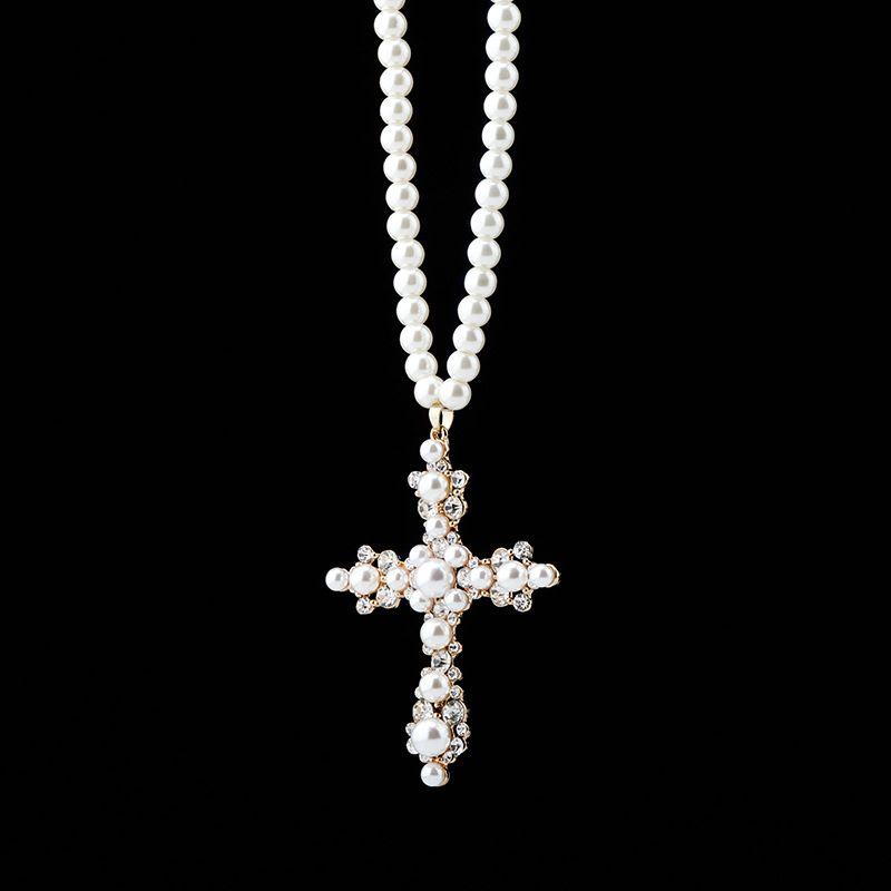 Хип-хоп ожерелья роскошные Bling Zircon белые жемчужные ожерелья мода элегантный крест подвеска ожерелья для женщин