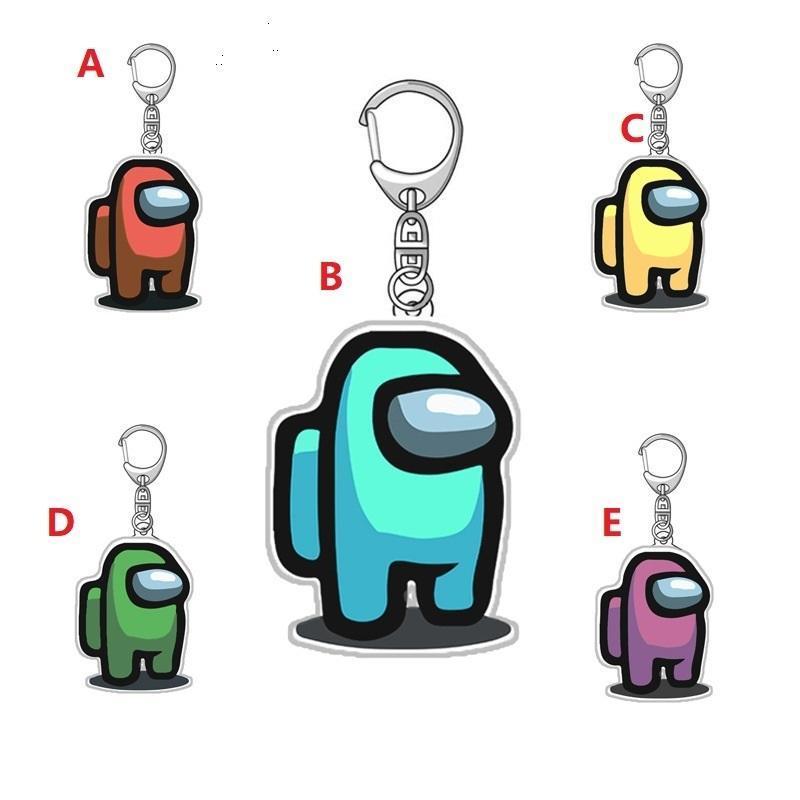 100pcs 5 styles Jeux Hot parmi nous porte-clés en acrylique colorés Porte-clés cadeaux pour clés de voiture Décoration Accessoires 5cm * 3cm air11