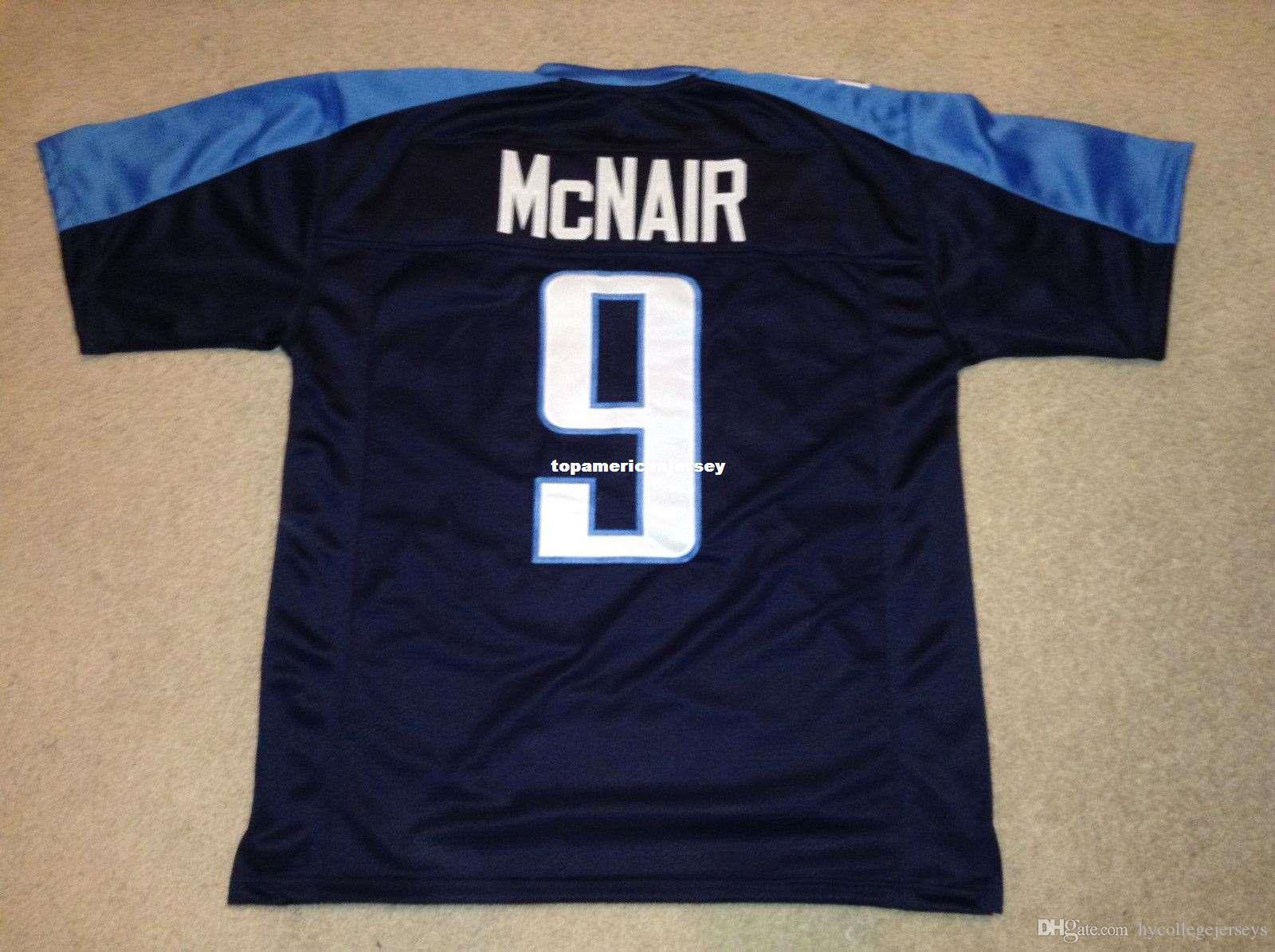 Billig retro benutzerdefinierte genäht genäht # 9 steve mcnair blau mitchell ness jersey top s-5xl, 6xl männer football jerseys rugby