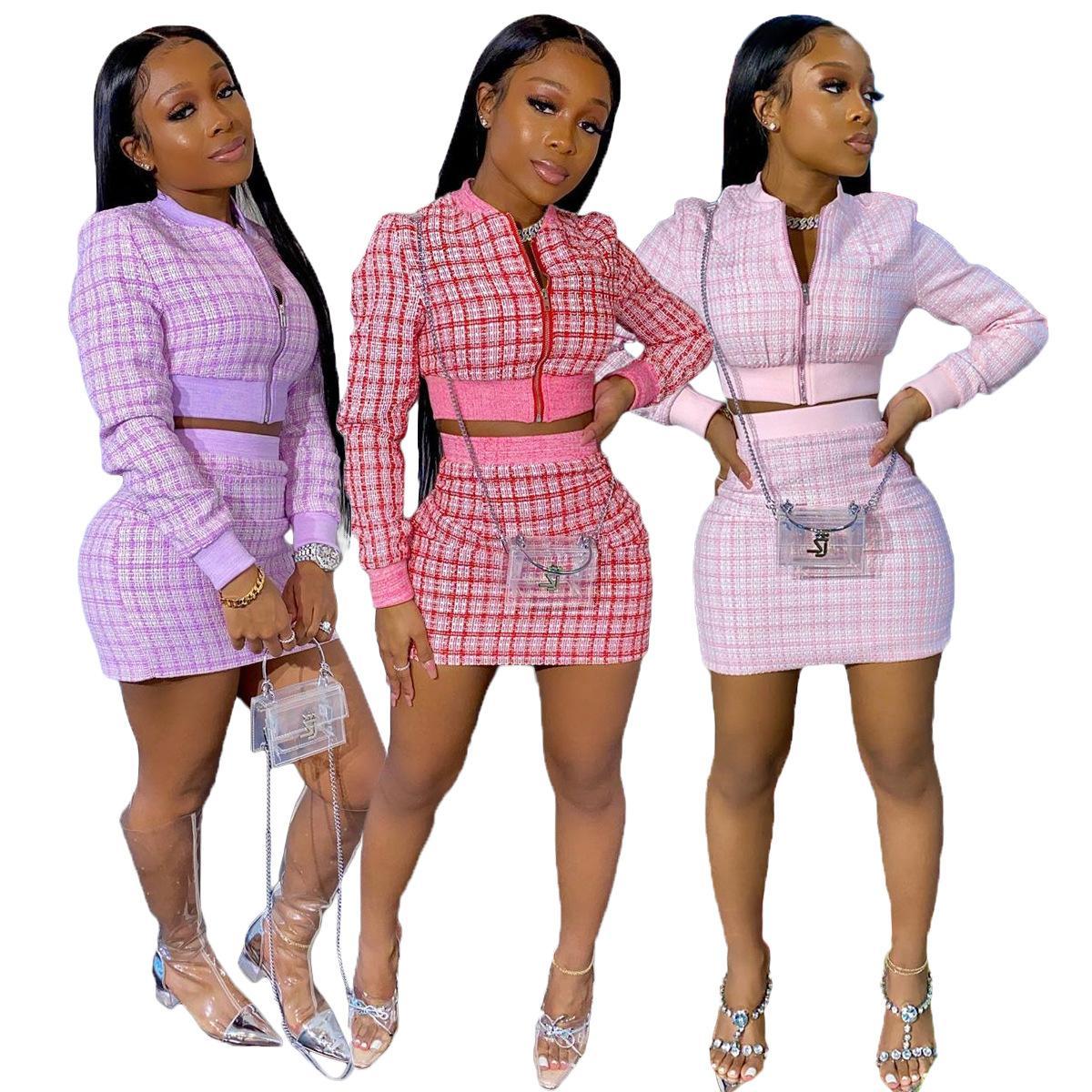 Падение женщин плед двух частей юбка на набор юбки на молнию на молнии длинный рукав урождал верхнюю куртку мини юбка офис леди деловой костюм Chandal Mujer