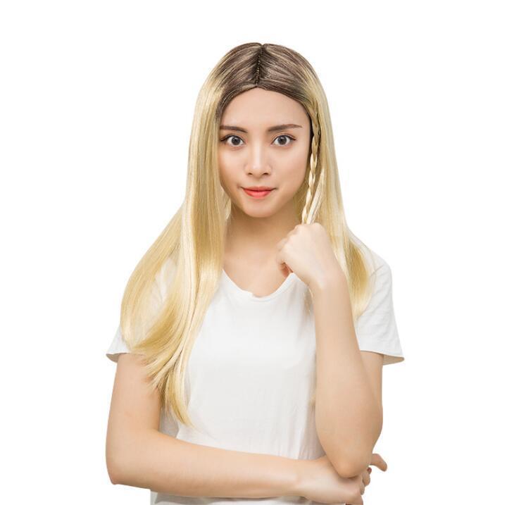 Livraison gratuite Fabricants de commerce extérieur Vendre Golden Brown Gradient distingue la plus petite tête féminine droite pour la fête de cosplay dan