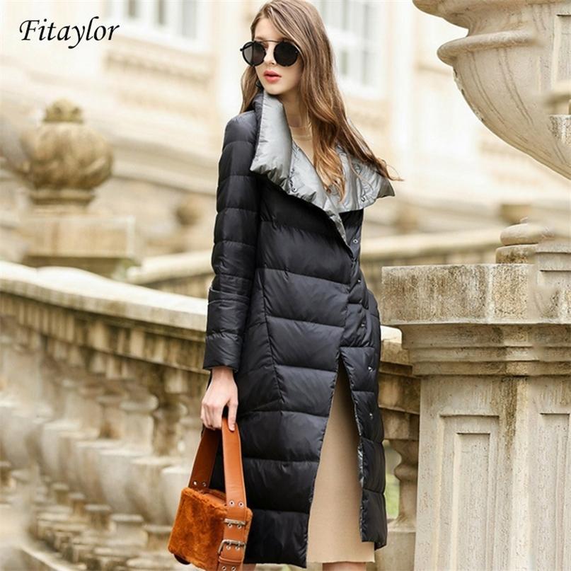 Fitaylor Frauen Daunenjacke Lange Mantel Winter Warme doppelseitig Ultraleichte Weiße Ente Daunen Parka Weibliche Plus Size Schnee Outwear 201214