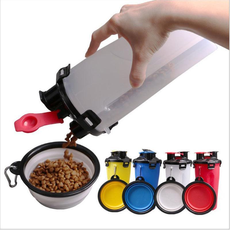 Botella de hidratación de doble votación portátil para perros con cuenco de mascotas plegables para mascotas para el aire libre de mascotas alimentos de agua de agua de alta calidad M2