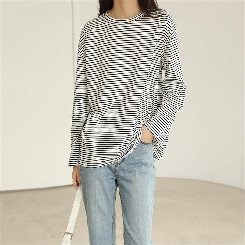 Coton Coton Devipped Tops en coton pour femmes manches longues manches étroites motif t-shirt Drop expédition