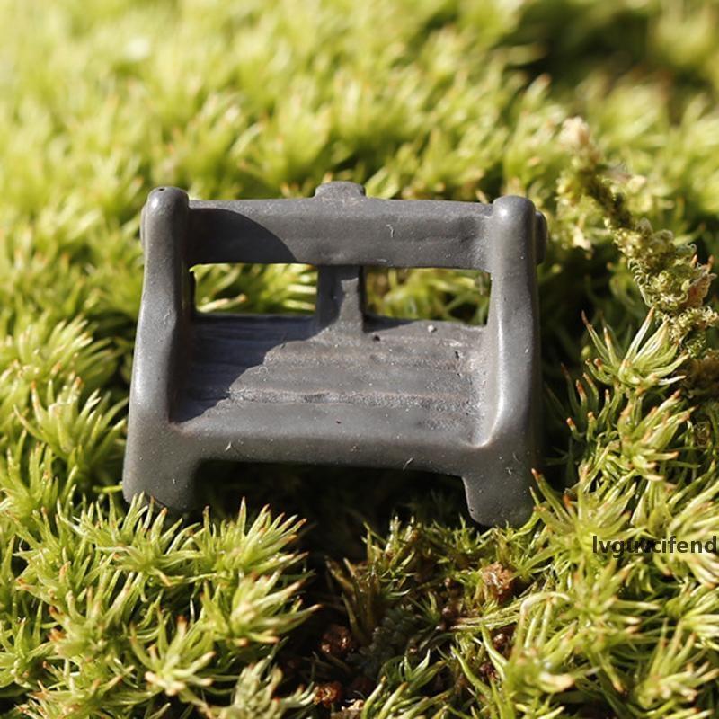20 adet / grup Yapay Sandalyeler Süsler Peri Bahçe Minyatürleri Gnome Moss Teraryum Dekor Reçine El Sanatları Bonsai Ev Dekor için DIY