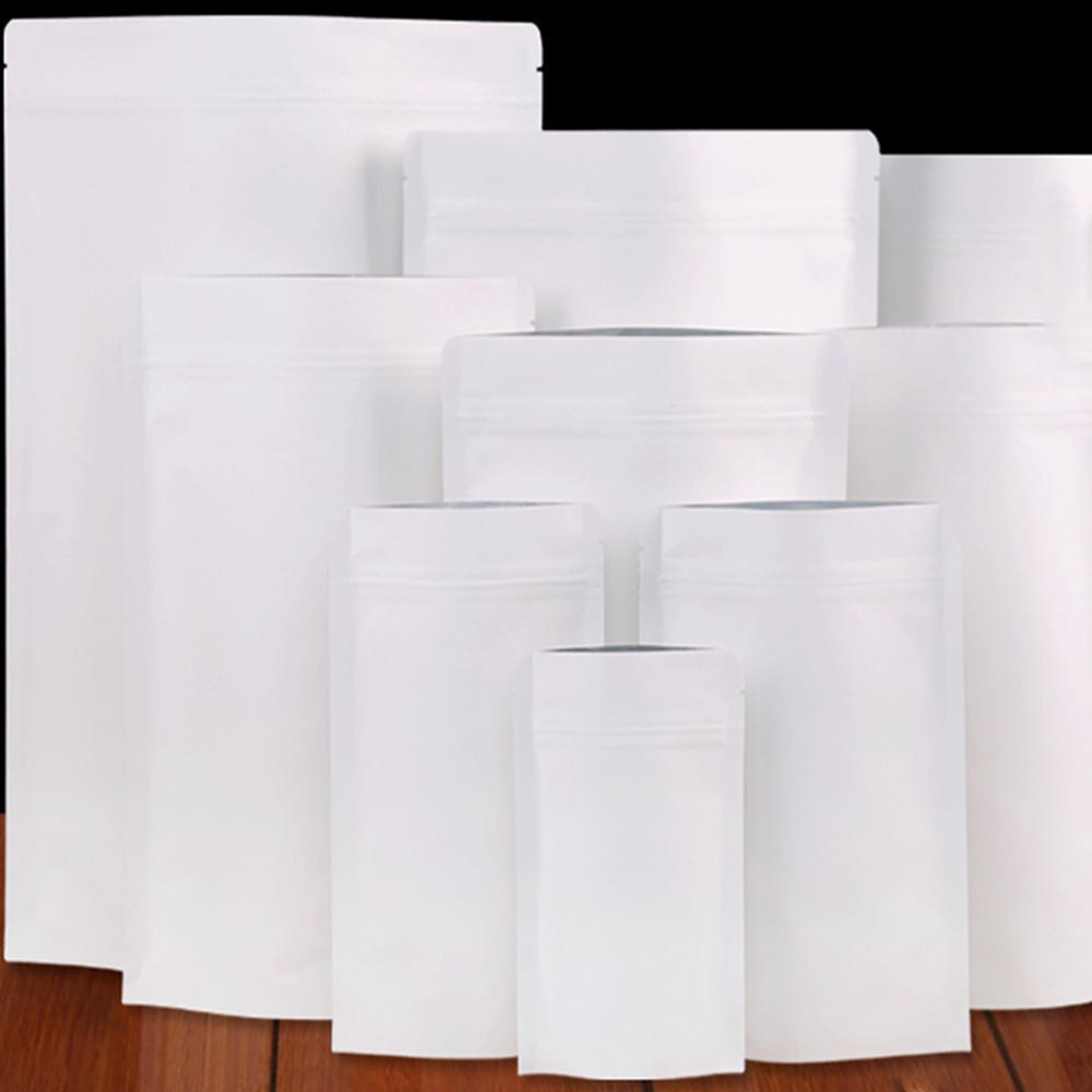 50 adetgrup Beyaz Kraft Kağıt Mylar Folyo Çanta Gıda Ambalaj Torbaları Stand Up Doypack Zip Kilidi Kavrama Seal Açma Seçilebilir Çok Boyutları H JllPCP