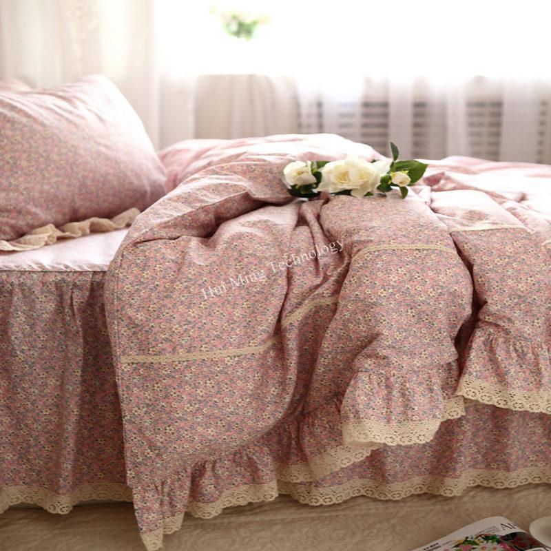 Pastorale Bettdecke Bettwäsche Sets Baumwolle Rüsche Dobby Duvet Cover Kleine Blume Gestickte Tagesdecke Falten Kissenbezug Queen Größe