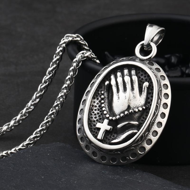Кулон ожерелья круглая молитвенная ручная кросс из нержавеющей стали звена цепочка для мужчин женское качество религиозный ювелирный аксессуар MN119