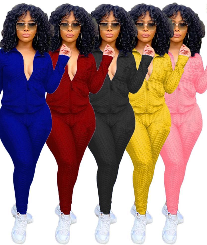 Women jogger suits sweatsuits fall winter tracksuits long sleeve jacket+pants solid color two piece set casual plus size clothing 4204
