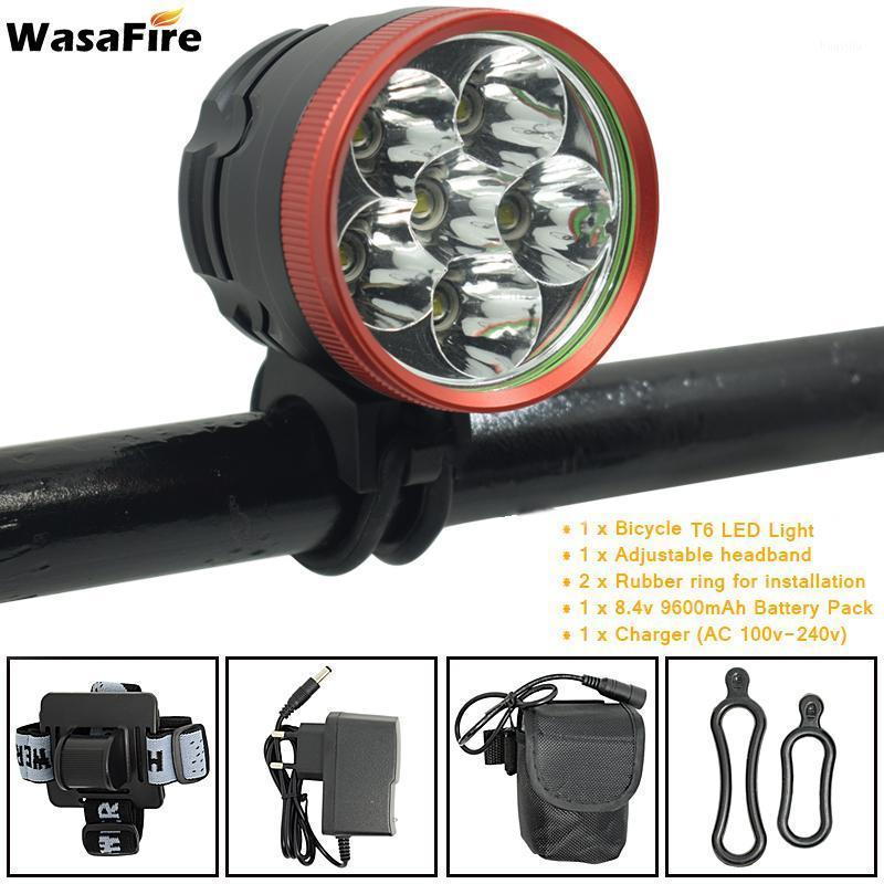 WasaFire 6x T6 LED Bicycle Light 10000lm Bike Front Light Cycling Head Lamp Headlight + 9600mah 18650 Battery Pack + Charger1