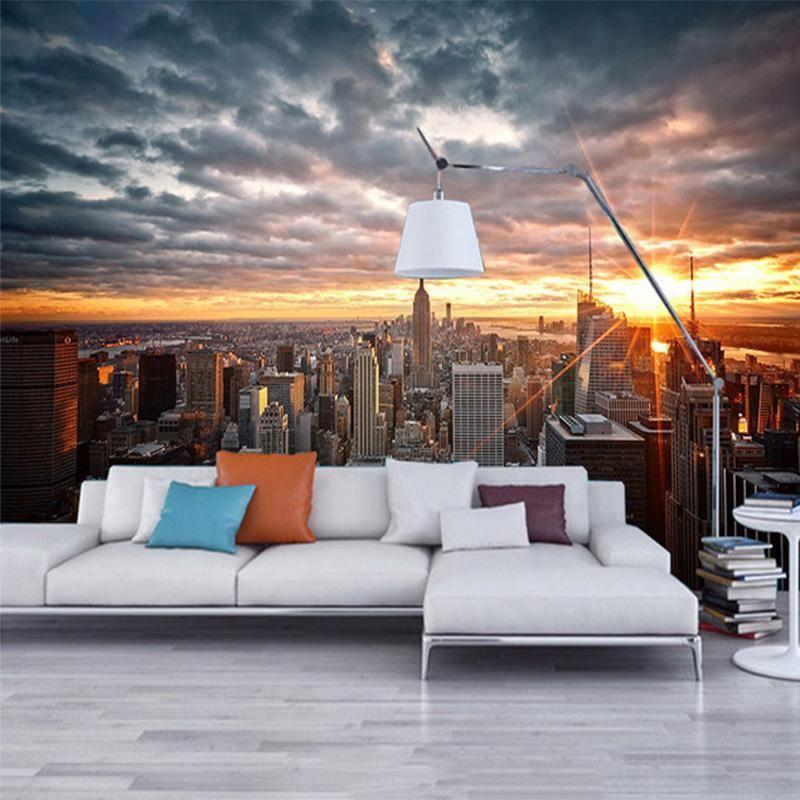 Foto Wallpaper Beautiful New York City Sunset Paesaggio Fotografia Fotografia da studio Sfondo Muro 3D Murale Sala da pranzo Della Sala da pranzo Affresco Affresco