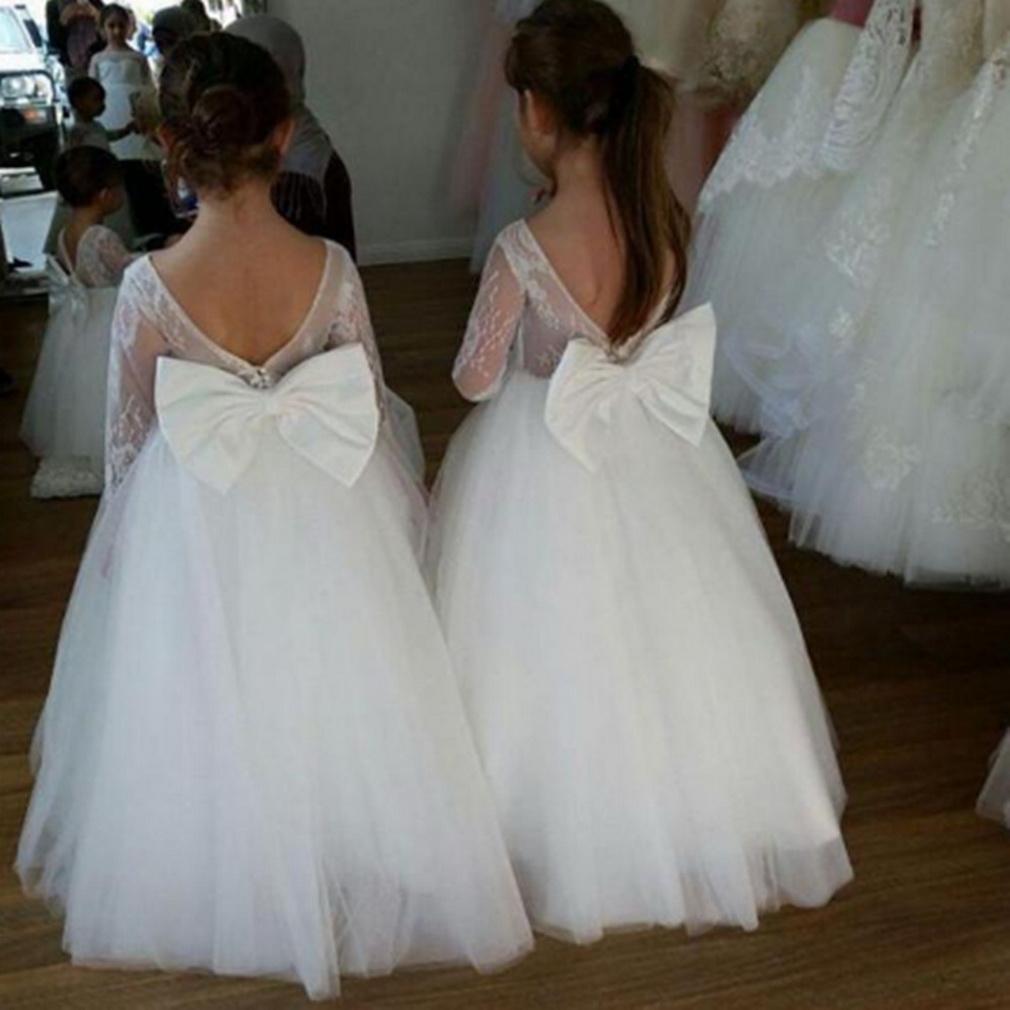 Vestidos da menina branca da flor para o laço do casamento apliques appliqued O-pescoço backless meninas do tule formal primeiros vestidos sagrados da comunhão dos miúdos