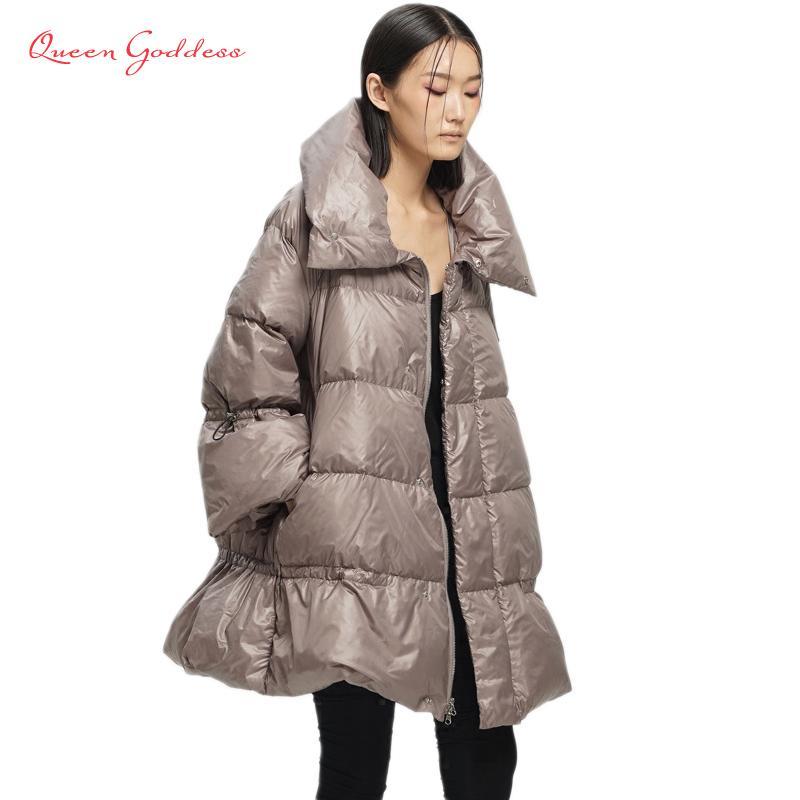 Оригинальный дизайн женщин 90 белая утка вниз изменяющаяся форма в форме воротника в длинном секции вниз куртка девушка вниз куртка 2020 z1202