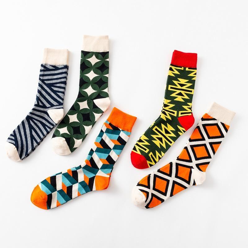 Mutlu erkek Komik Mutlu Çorap Güzel Paragraf Elmas Desen Argyle Üç Boyutlu Tüp Geometrik Penye Pamuk Erkek Sox