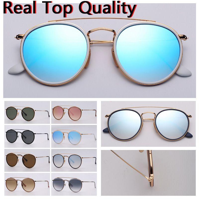 Mulheres óculos de sol redondo ponte dupla modelo 2020 novos óculos de sol homens óculos de sol com estojo de couro preto ou marrom, e todo o pacote de varejo!