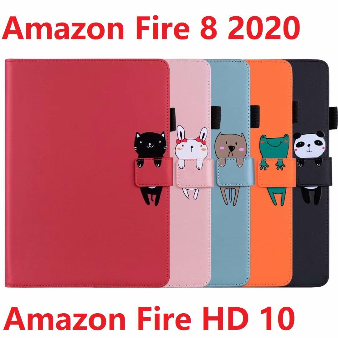 ل Amazon Kindle Fire 8 / Fire HD 8 / Fire HD 10 حالة بو الجلود + لينة TPU النار HD زائد 2020 السيليكون المغناطيسي اللوحي غطاء الذكية