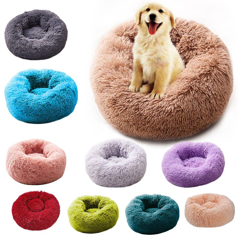 Cama de gato de larga llena redonda Casa de mascotas Casa de gato suave Cama de perro redonda para perros pequeños Cats Nest Cama para dormir Cojín de cachorros Cojín Drop Shipping T200101