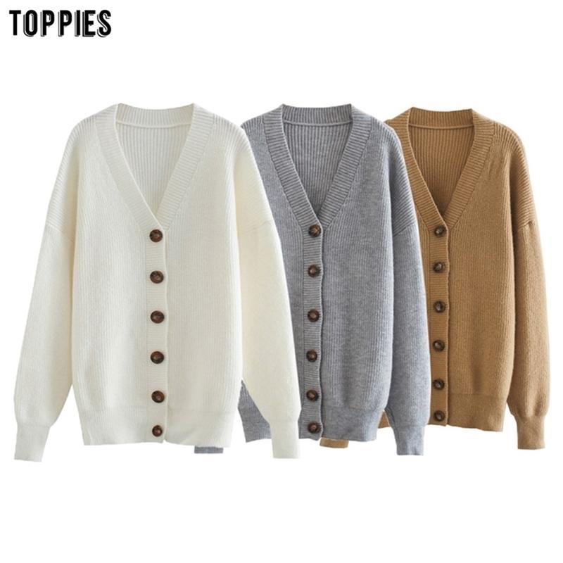 TOPPEN WINTER WHITE CARDIGAN Womens Single Breasted Strickjacke Mantel Mode Übergroße Pullover Y200915