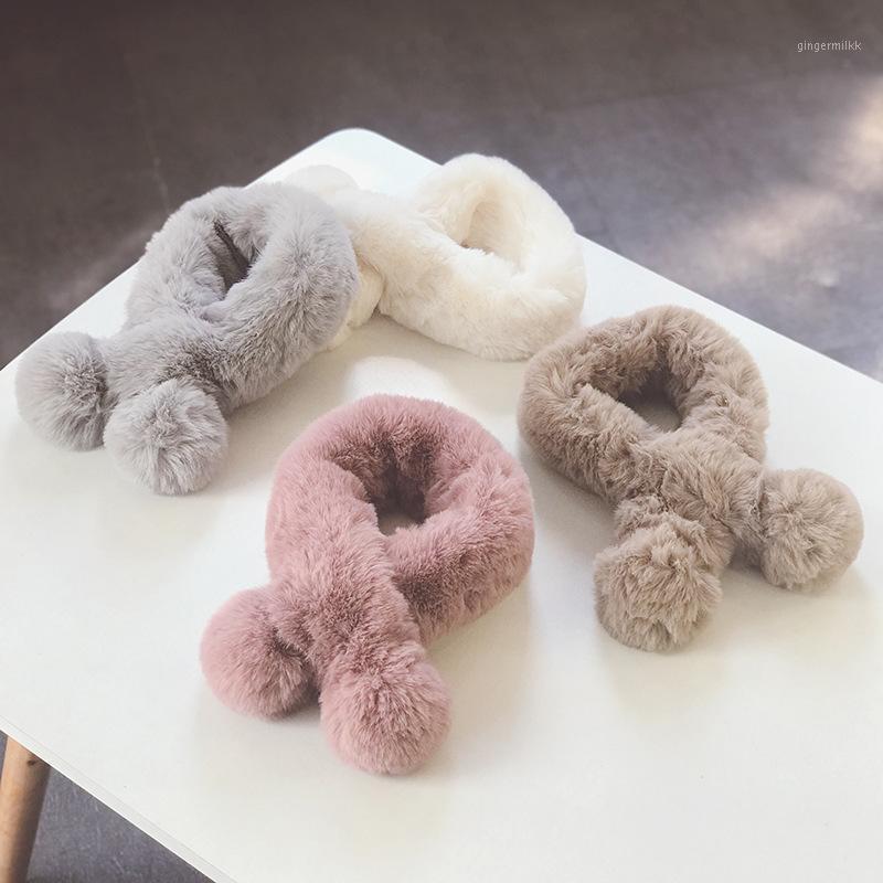 Autunno e inverno colore solido piccolo fresco capelli lunghi doppia palla per bambini pelle sciarpa collare caldo All-match carino bambino Bib1
