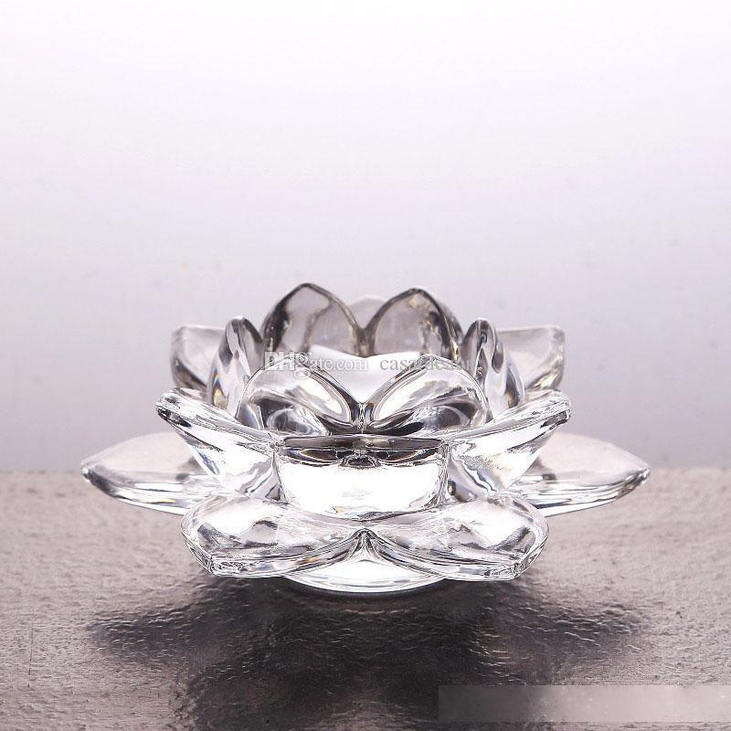 Glass Lotus Flower Candle Holder High Quality Crystal Glass Tea Light Holder Clear Handmade Buddhist Candlestick Home Décor