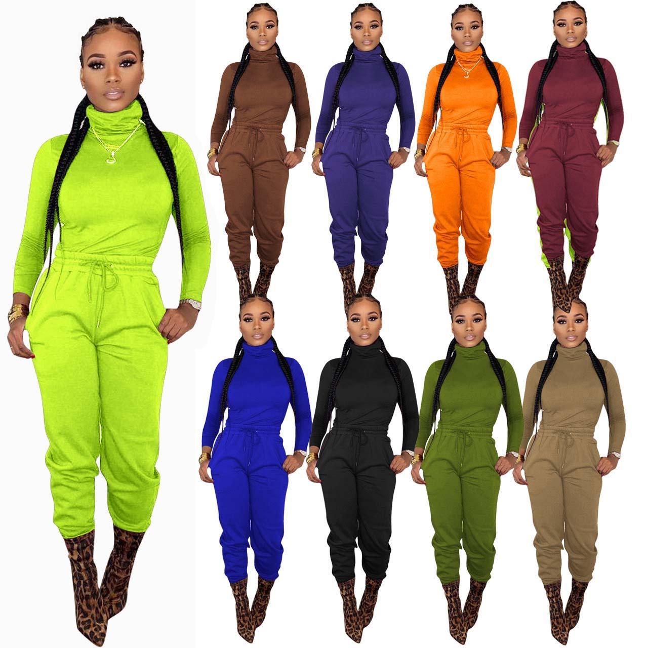 Mulheres Sólidas Cores 2 Conjuntos de Tracksuit de Dois Peça Fall Winter Roupas Pescoço Alto Pullovers Elastic Cintura Calças Suor Sweat Sportswear