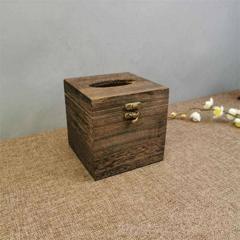 Black Wood Tissue Box Napkin Cover Container Home Hotel Pub Cafe Car Paper Holder Case Brown Free Shipping M2