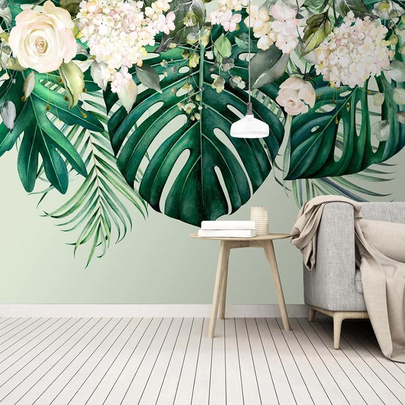 مخصص جدار جدارية 3d الحديثة الفن الأخضر ورقة زهرة صور خلفية جدار اللوحة غرفة المعيشة غرفة الطعام ديكور غرفة الطعام
