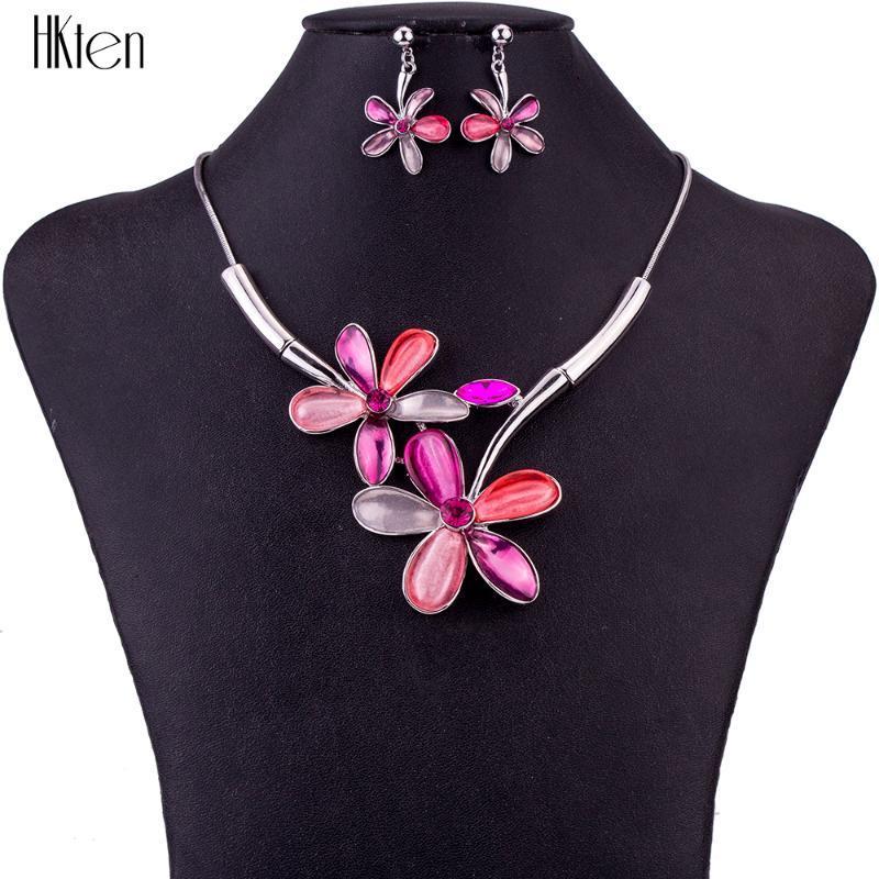 MS1504672 Joyería de moda conjuntos de collar de alta calidad para mujeres joyas de cristal multicolor diseño de flor de flor