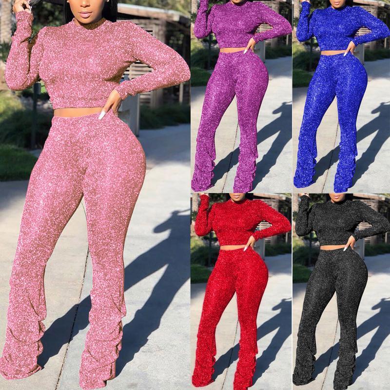 Женский 2-х частей набор фитнес-трексуит мода серебряная линия плиссированные брюки с длинным рукавом сексуальная пуловер набор спортивные одежды
