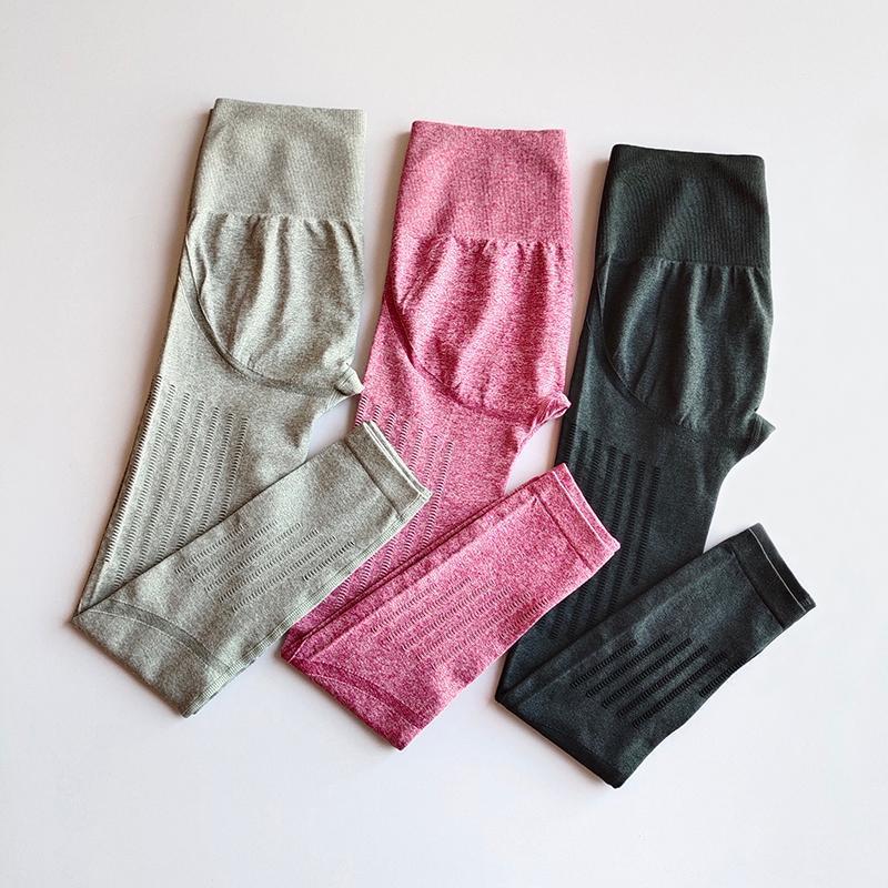 Trajes de yoga hueco de pantalones sin fisuras mujeres deportes leggings fitness sólido atlético largo medias gimnasio correr pantalones chicas