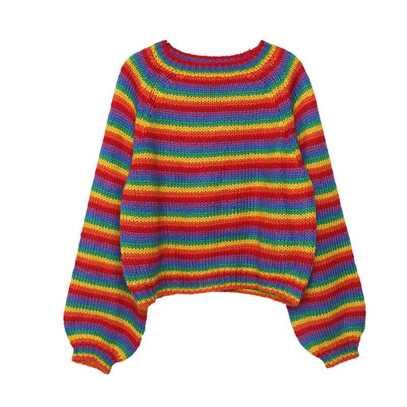 Coreano arcobaleno maglione lavorato a maglia da donna con pista da donna allentate vestiti da donna autunno plus size casual femminile top pullover LJ201125