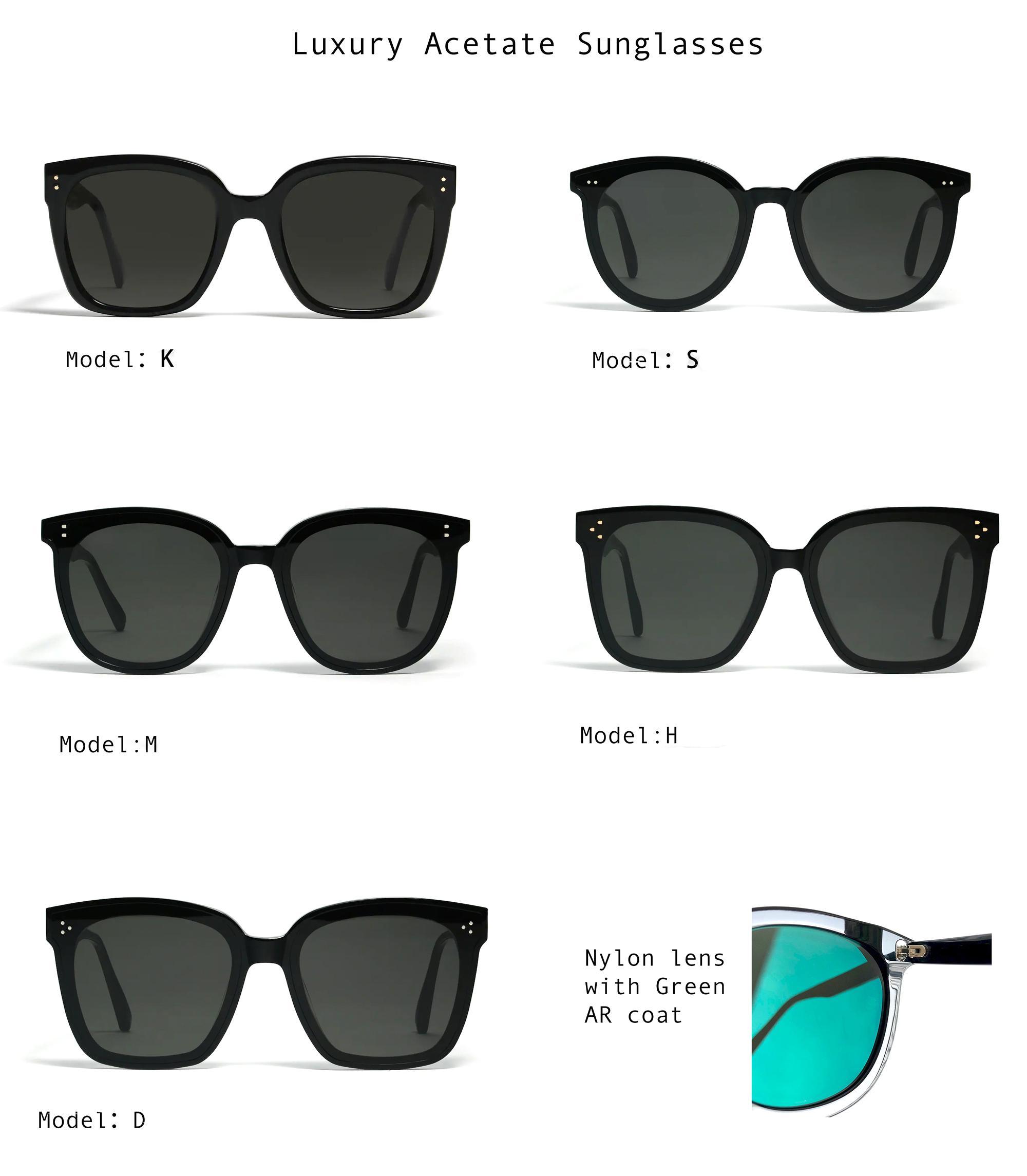 Óculos de sol quadrados dos óculos de sol dos óculos para mulheres, lente de nylon do quadro do acetato de alta dimensão GM