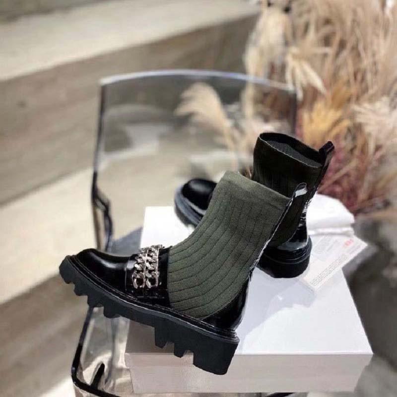 Hiver bottes élastiques tricotées lettre épaisse sexy femme chaussures martine bottes de bottes de mode chaussettes longues bottes Lady cow-boy boot 35-41 gi250 07
