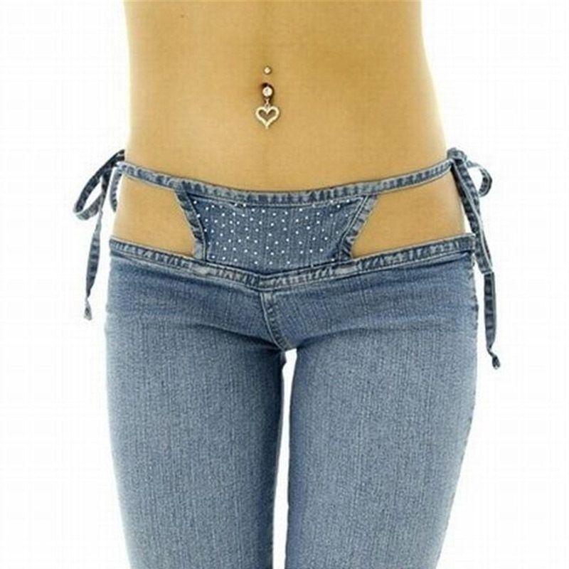 Personalidad de alta calidad Slim Slim Ultra Cintura Bikini Jeans Moda Pantalones con cordón cómodos Pantalones A1112