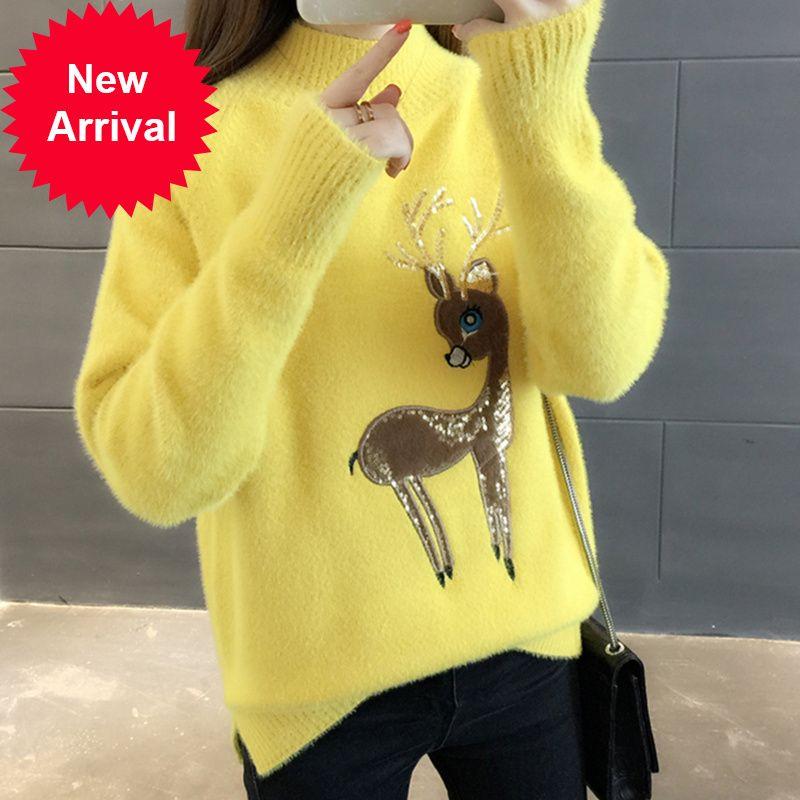 Carina renna coreana brutto maglione natale donne inverno inverno maglioni caldi soffici cashmere jumper colloquio pullover 2020