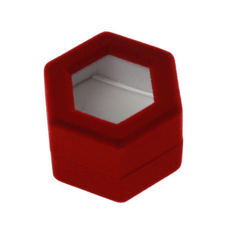 Ювелирные изделия, сумки Бархатные красные кольцевые коробки Держатель Clear Showcase Организатор для отображения предложения привлечения с прозрачными крышками