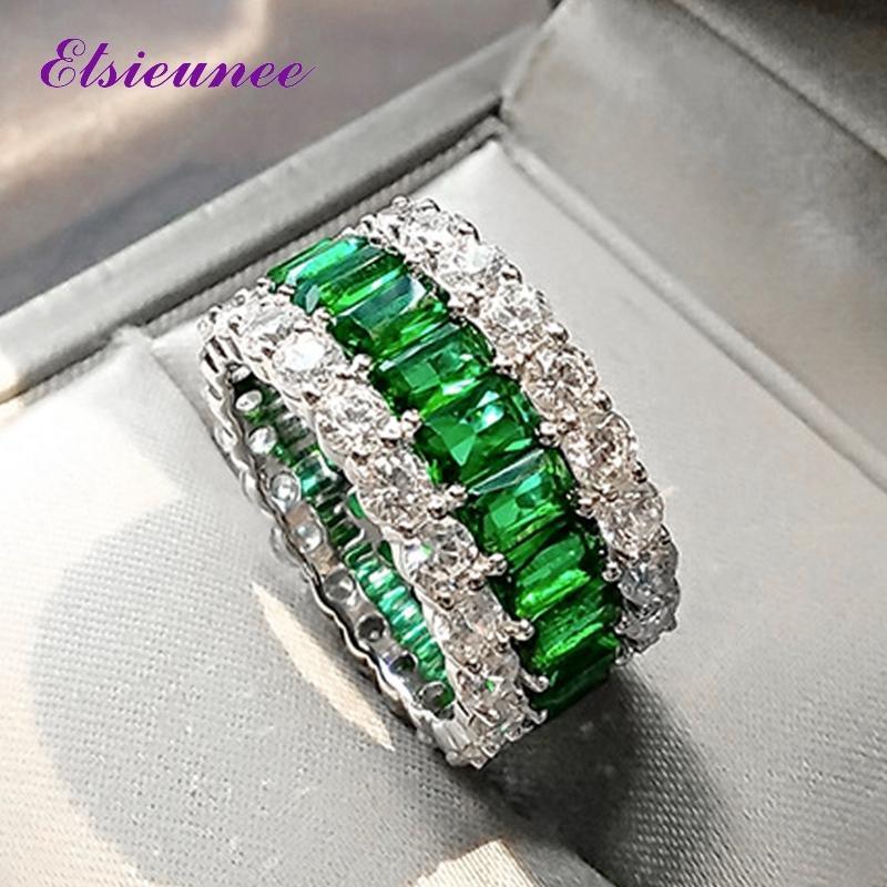 Elsieunee 100% 925 Sterling Argent créé Moissanite Emerald Gemstone Bague pour femmes anniversaire Cocktail Party Bijoux fins Y1124