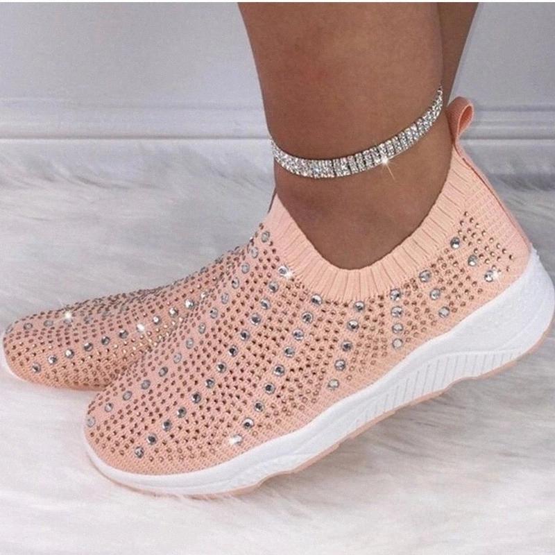 Femmes Cristal Meskers Sneakers Mocassins Mode Casual Vulcanisée Chaussure Femme Plus Taille 2020 Femmes Confortable Appartements Français Livraison # K40e