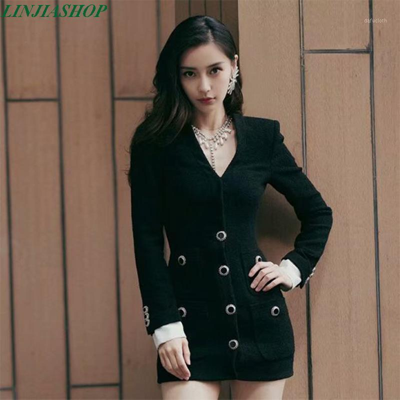 Femmes Black Robe Blazer Blazer Simple-Courtiers 2020 Everything Automne Vêtements Nouveau Mode V Necque Blazer Blazer Boucle Slim Top1