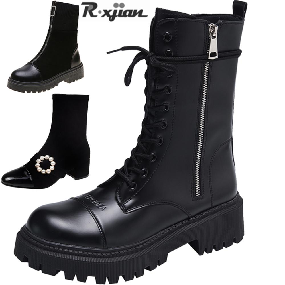 R. XJian Brand2020 Espesso Estilo Britânico High-top Shoes Preto Martin Estudante Curto Mulheres Laarzen Snowboots Engine