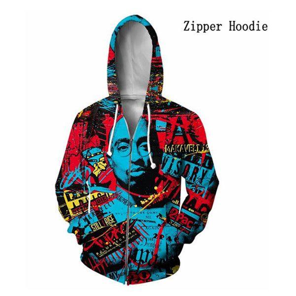 Hip Hop Rapper 2PAC TUPAC T Рубашки 3D Печать Толстовки Мужчины Женщины Harajuku Молния Толстовка Толстовка