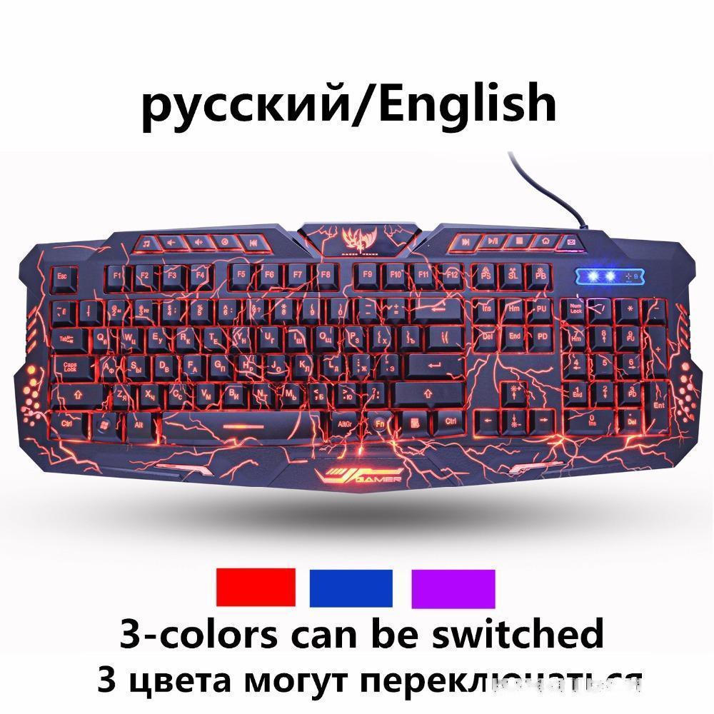 ZUOYA Русский Английский Gaming Keyboard Crack 3-Color Дыхательные подсветкой USB Проводная Красочный водонепроницаемый игры клавиатура для ПК