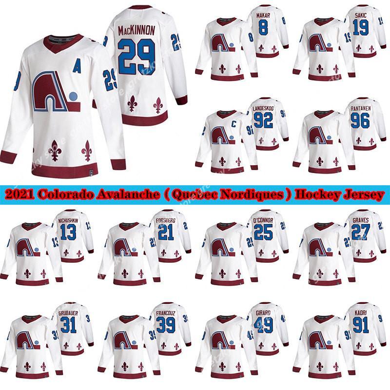 Colorado Avalanche Jersey 2020-21 عكس الرجعية كيبيك Nordiques 8 Cale Makar 29 Nathan Mackinnon 96 Rantanen 19 Sakic Hockey Jersey