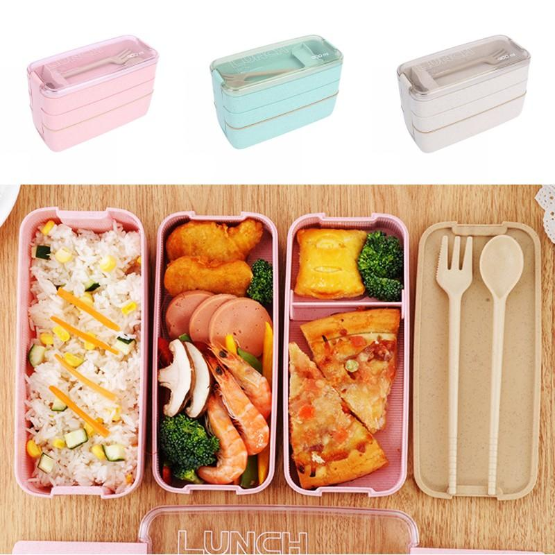 Wheat Straw Lunch Box Healthy Material Lunch Box 3 Layer Wheat Straw Bento Boxes Microwave Dinnerware Food Storage Container DHB3456