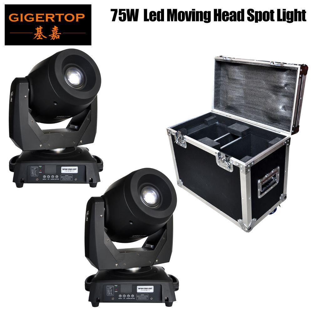 Freeshipping Flightcase 2in1 Verpackung mit 2 Einheiten 75W LED-Hauptlicht DMX512-Steuerung geführt Tischs Kopf Gobobeleuchtung bewegt