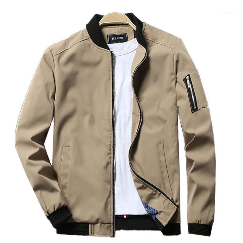 Chaquetas para hombre Chaqueta con cremallera de bombarderos Hombre Casual Streetwear Hip Hop Slim Fit Pilot 2021 Primavera Khaki Coat Hombres Ropa MÁS TAMAÑO 6X