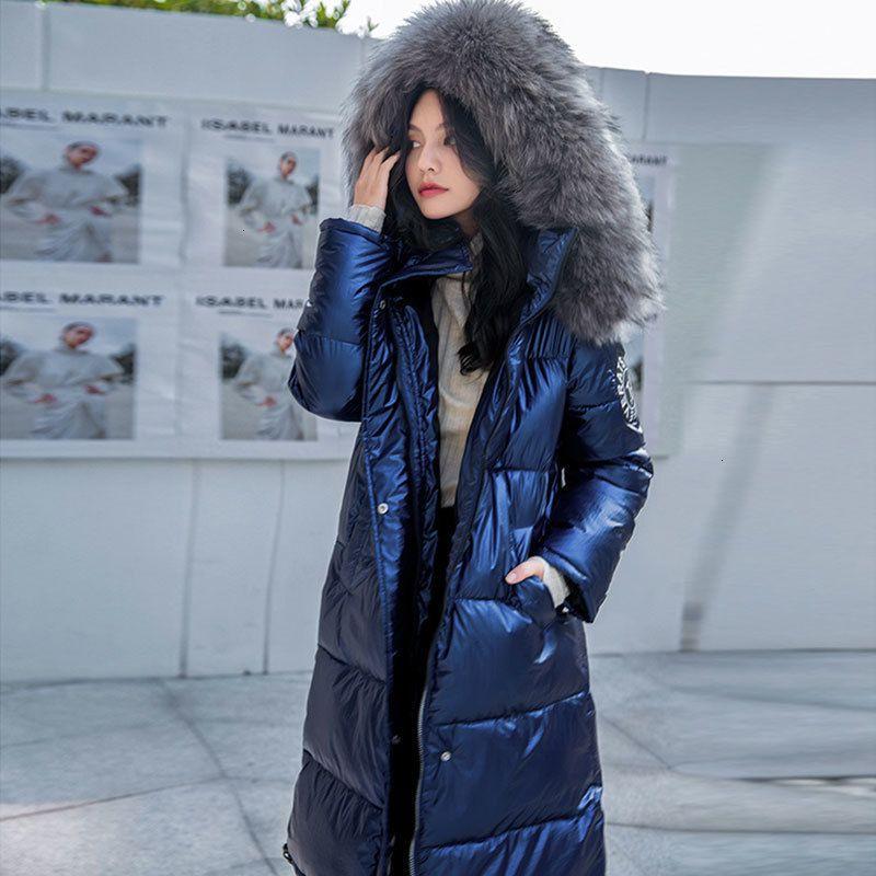 Plus Size Casual Thick Zipper Puffer Fashion Women Winter Jacket Fur Warm Long Coat Female Parka Hooded Jackets Oversized 210203